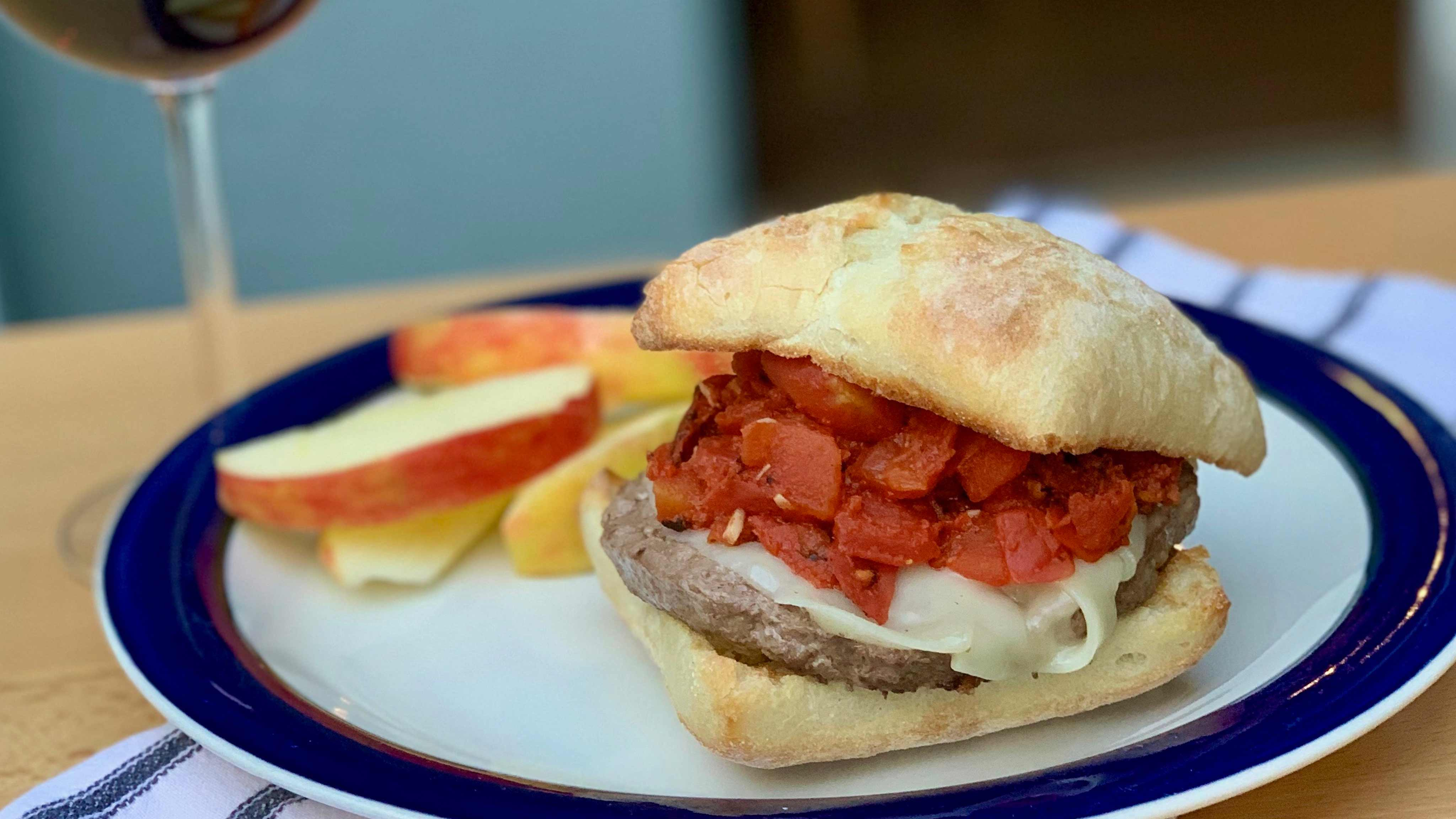 Image for Recipe Cajun Burgers with Fire Roasted Creole Tomatoes