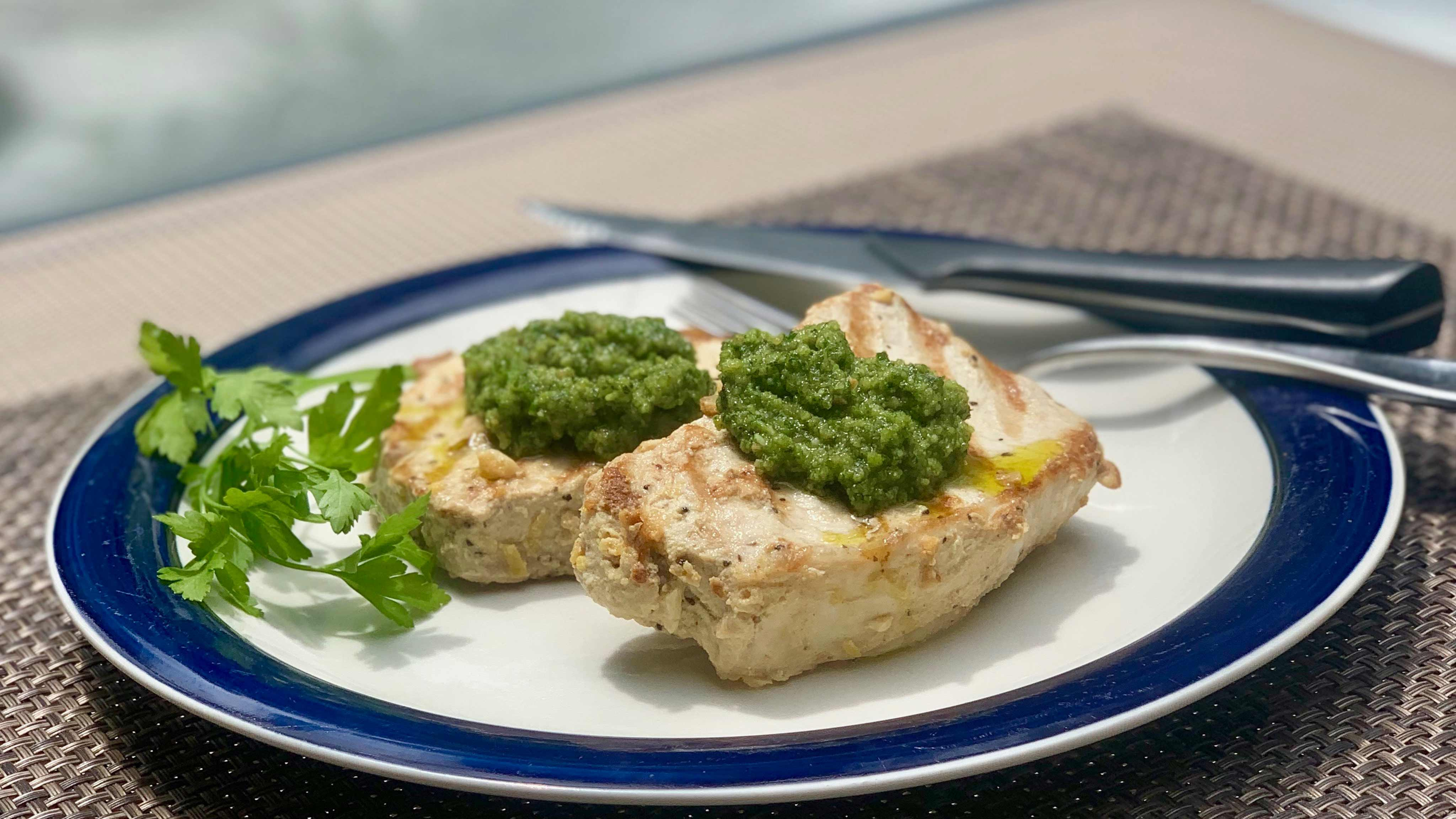 Image for Recipe Pork Chops with Peanut Parsley Pesto