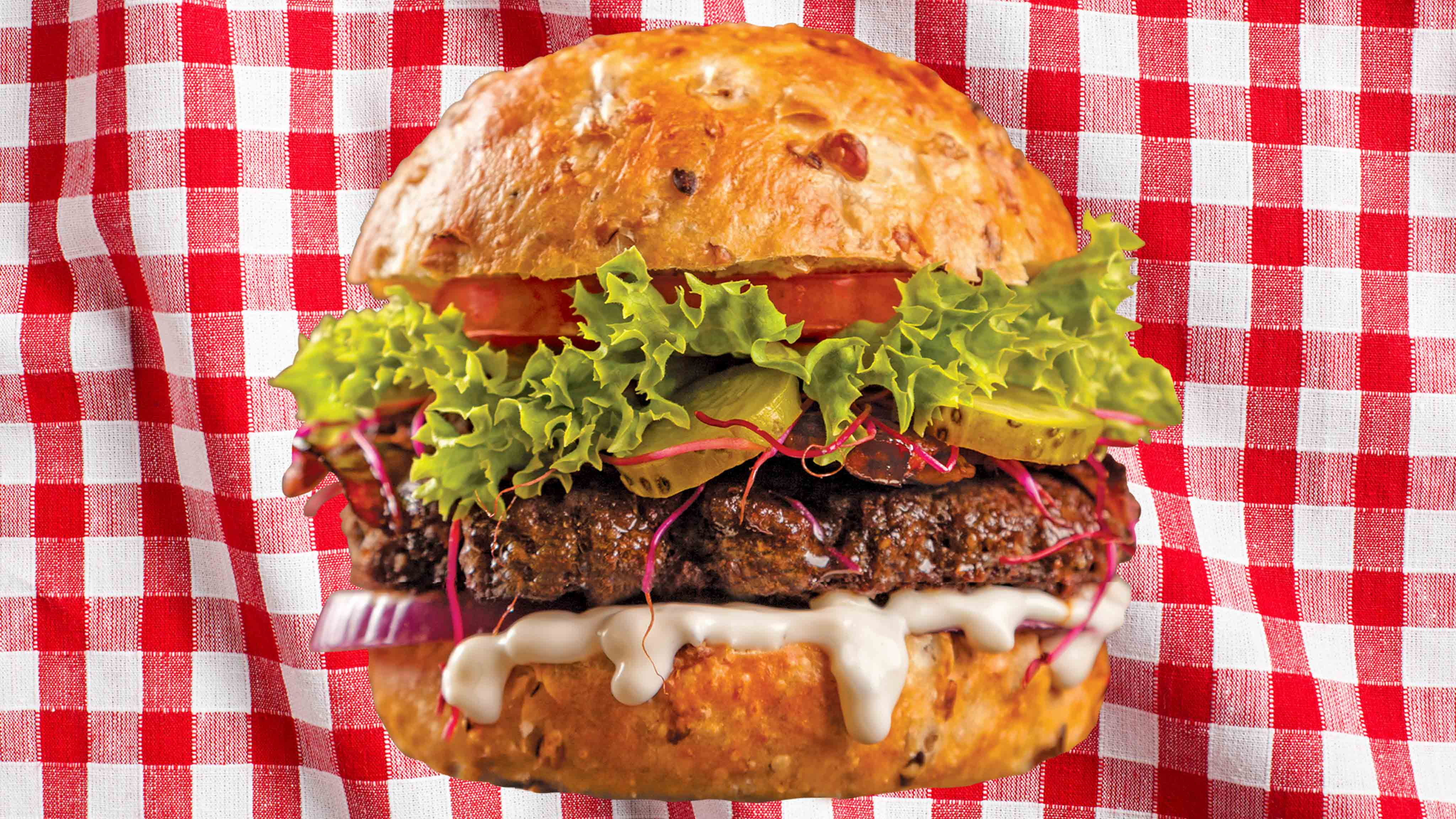 Image for Recipe Bacon and Brie Burger on Onion Roll