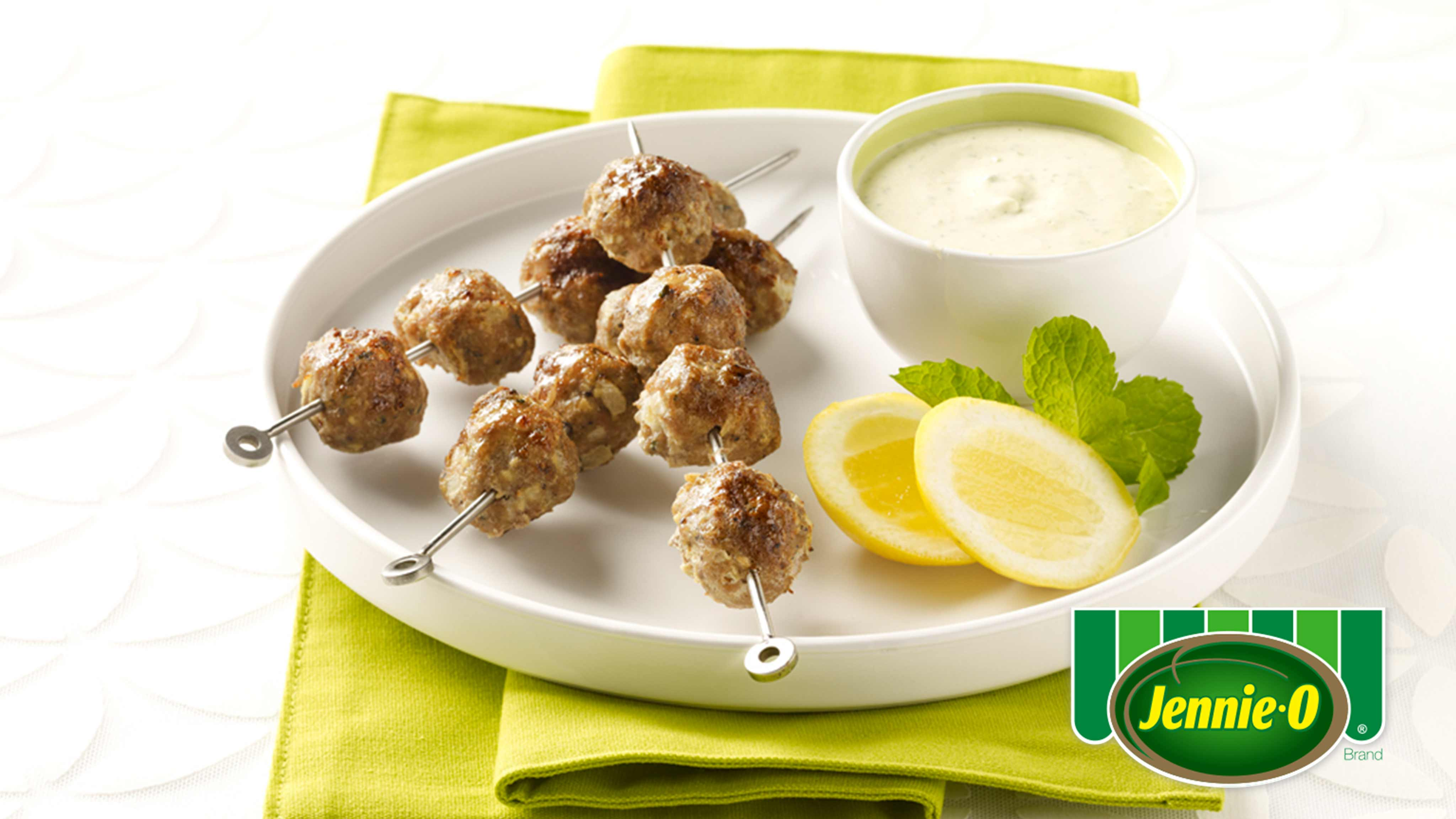 Image for Recipe Spicy Turkey Kabobs with Tangy Yogurt Sauce