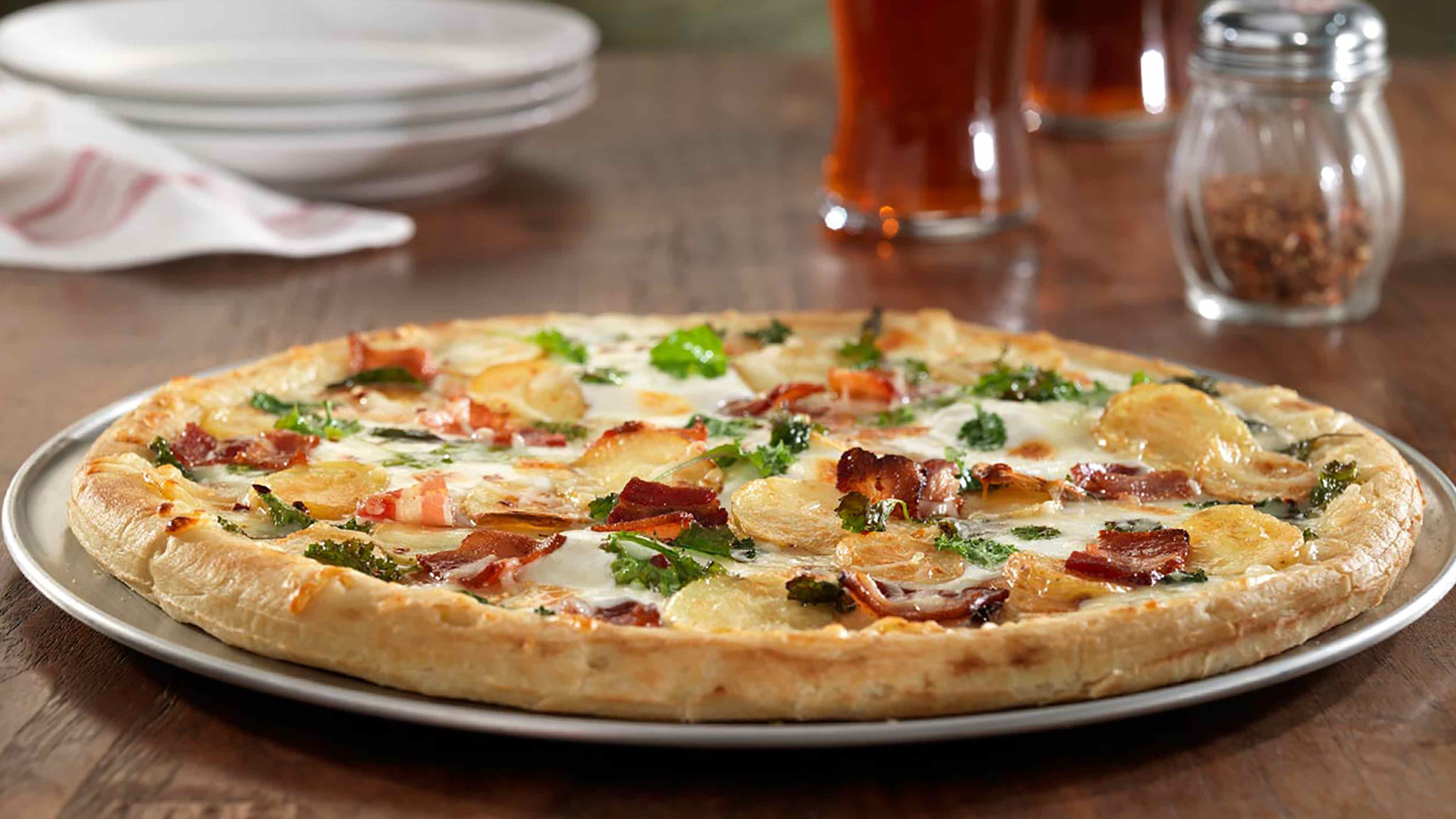 Image for Recipe Bacon, Kale and Potato Pizza with Asiago Cheese