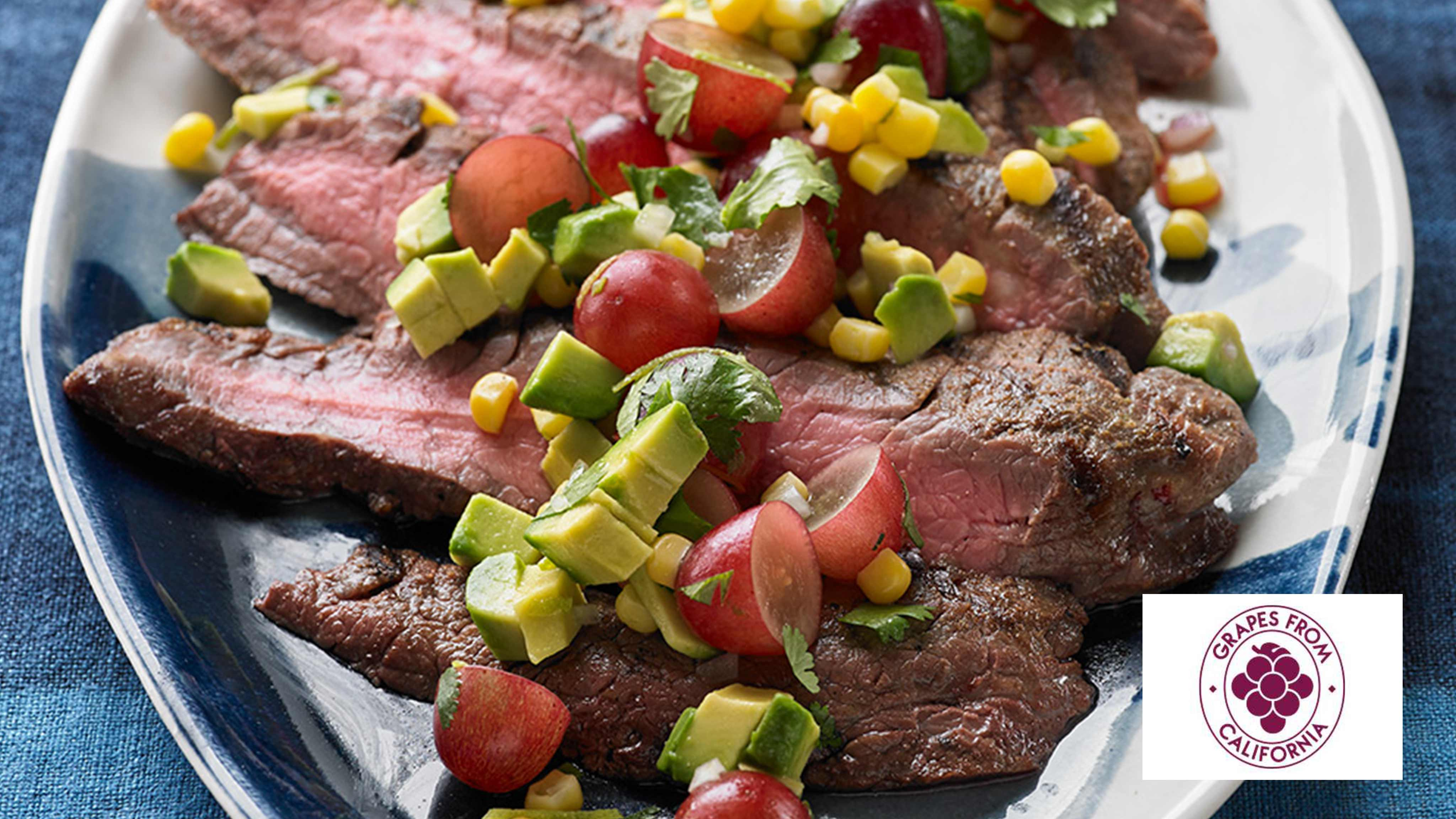 Image for Recipe Grilled Flank Steak with Southwest Corn Grape Salad