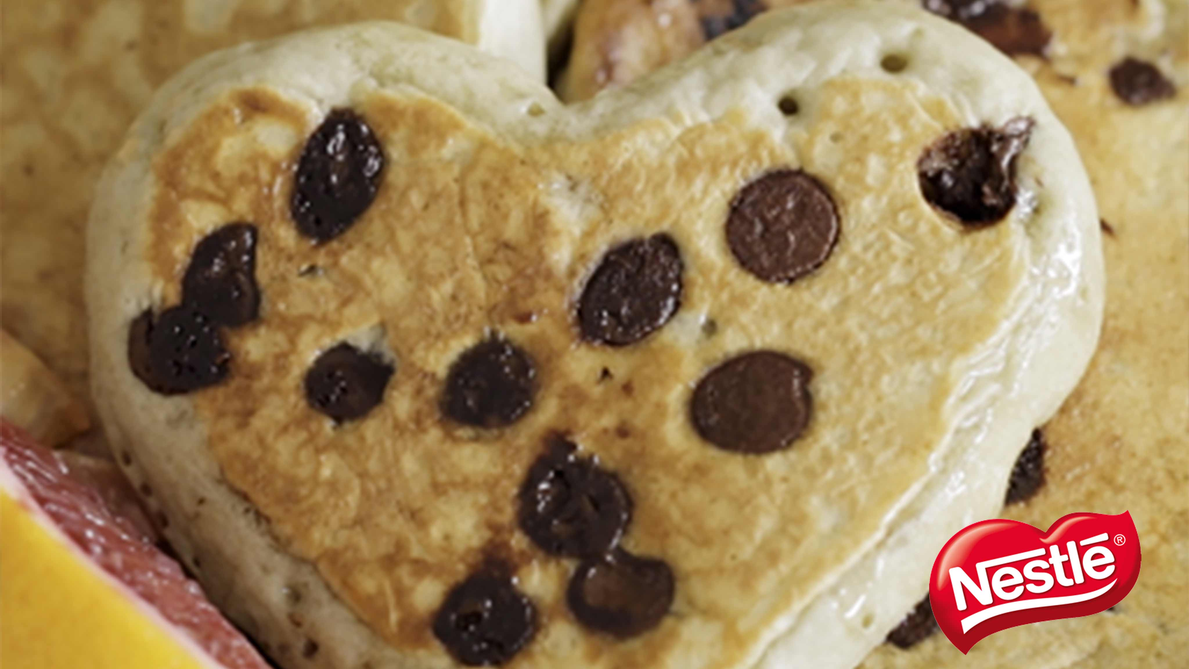 Image for Recipe Blood Orange Chocolate Chip Heart Shaped Pancakes