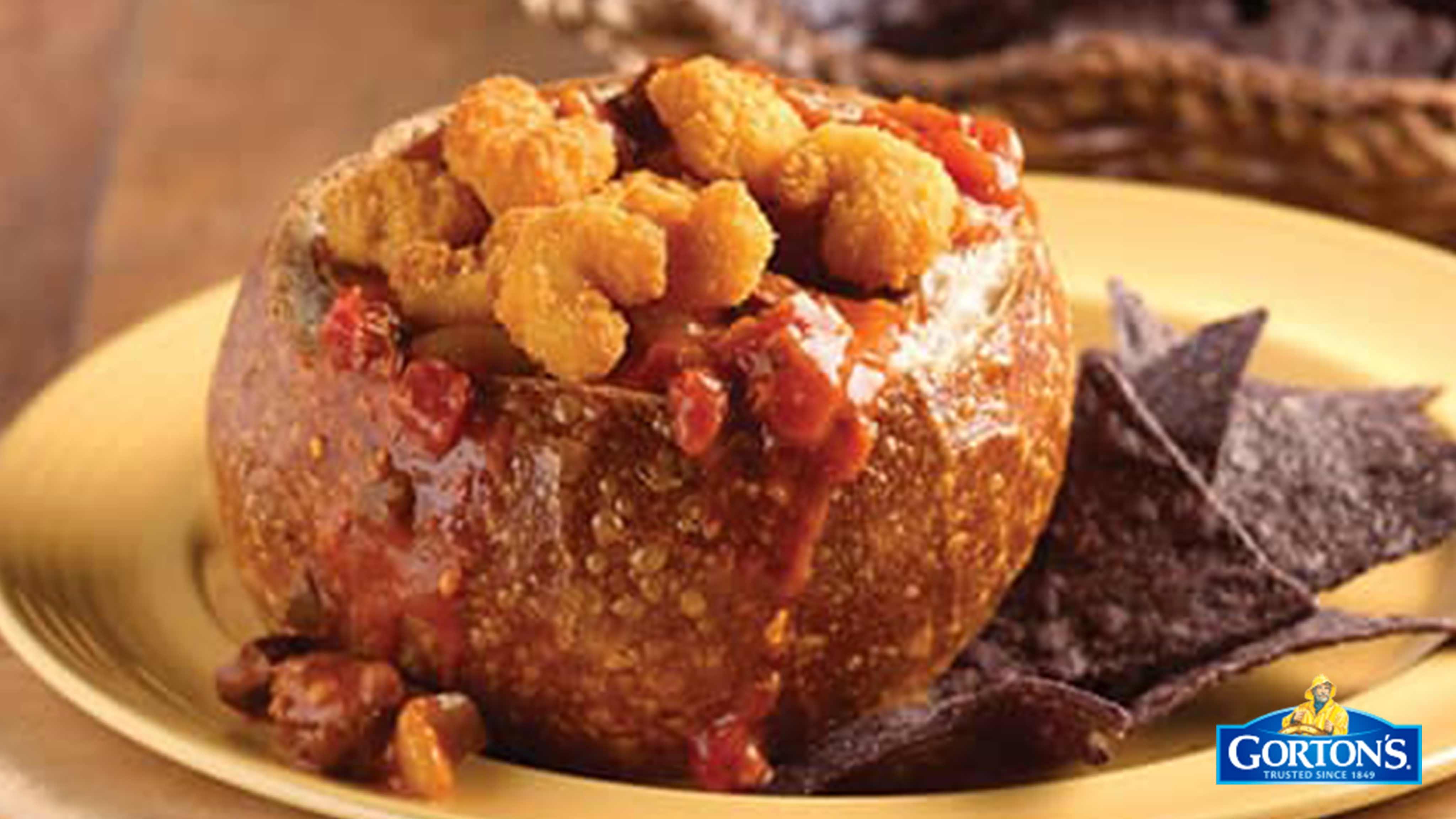 Image for Recipe Popcorn Shrimp Chili and Cheese Bread Bowl