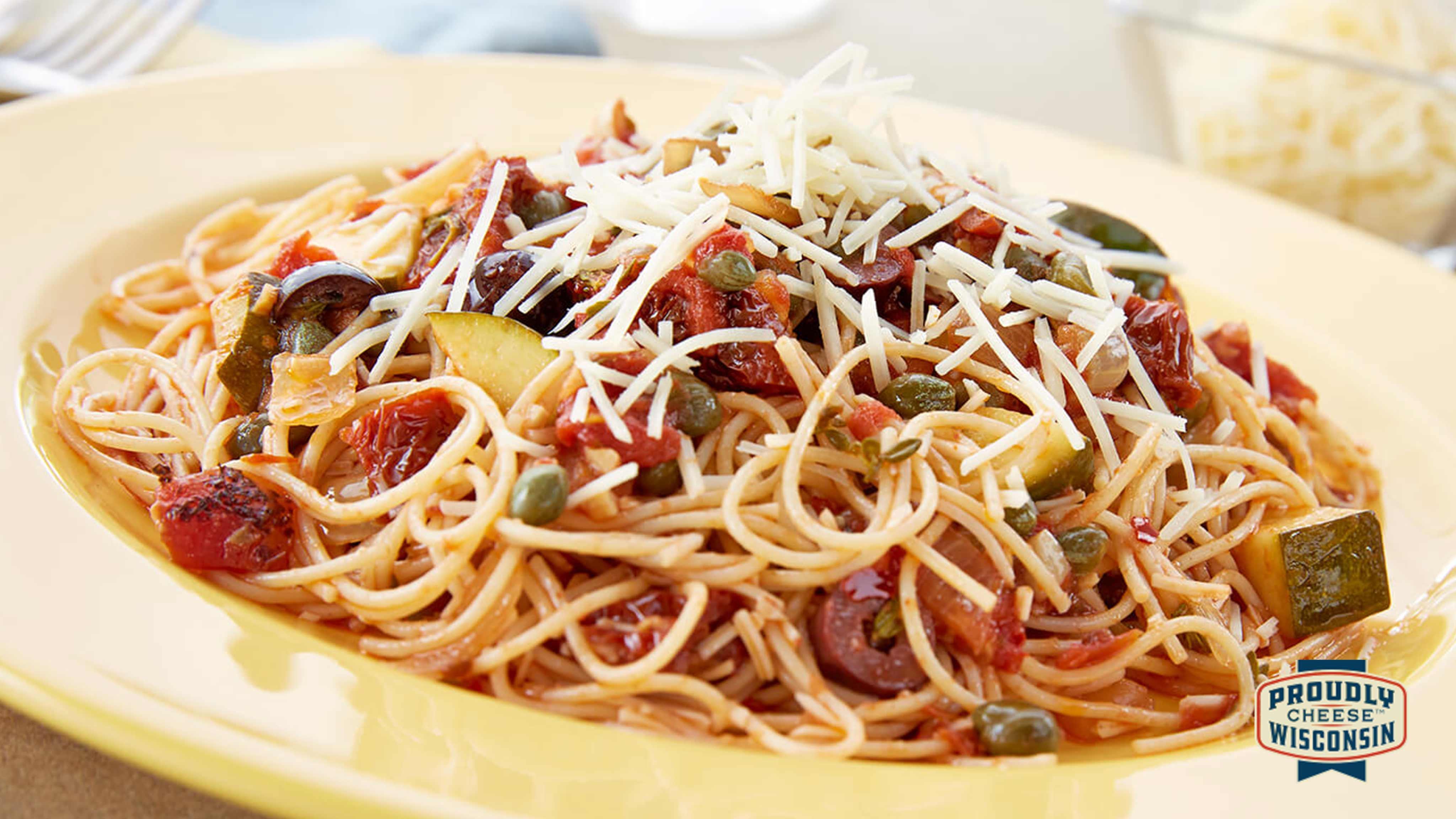 Image for Recipe Spicy Garlic Asiago Angel Hair Pasta