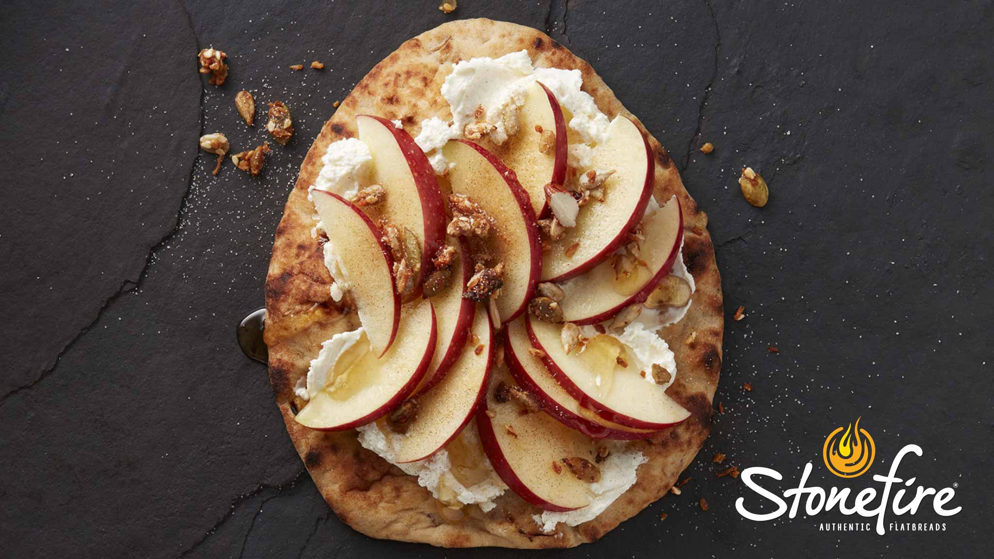 Image for Recipe Stonefire Mini Naan Apple and Cream Cheese Toast