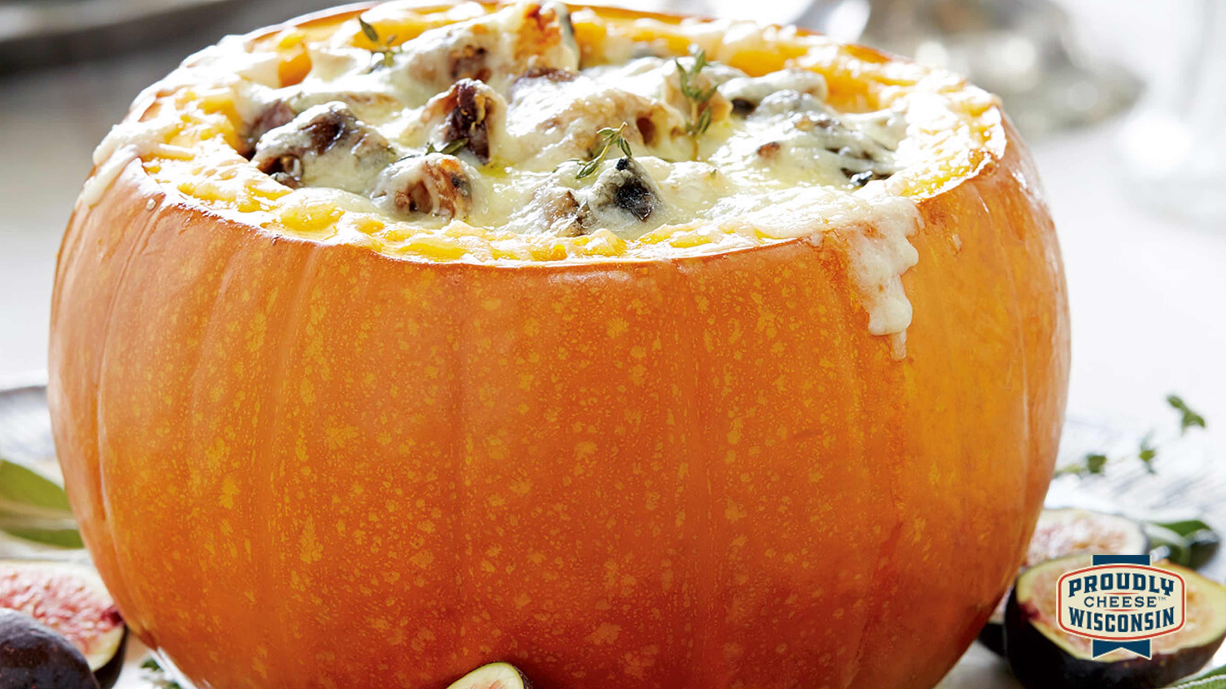 Image for Recipe Cheese and Sourdough-Stuffed Pumpkin