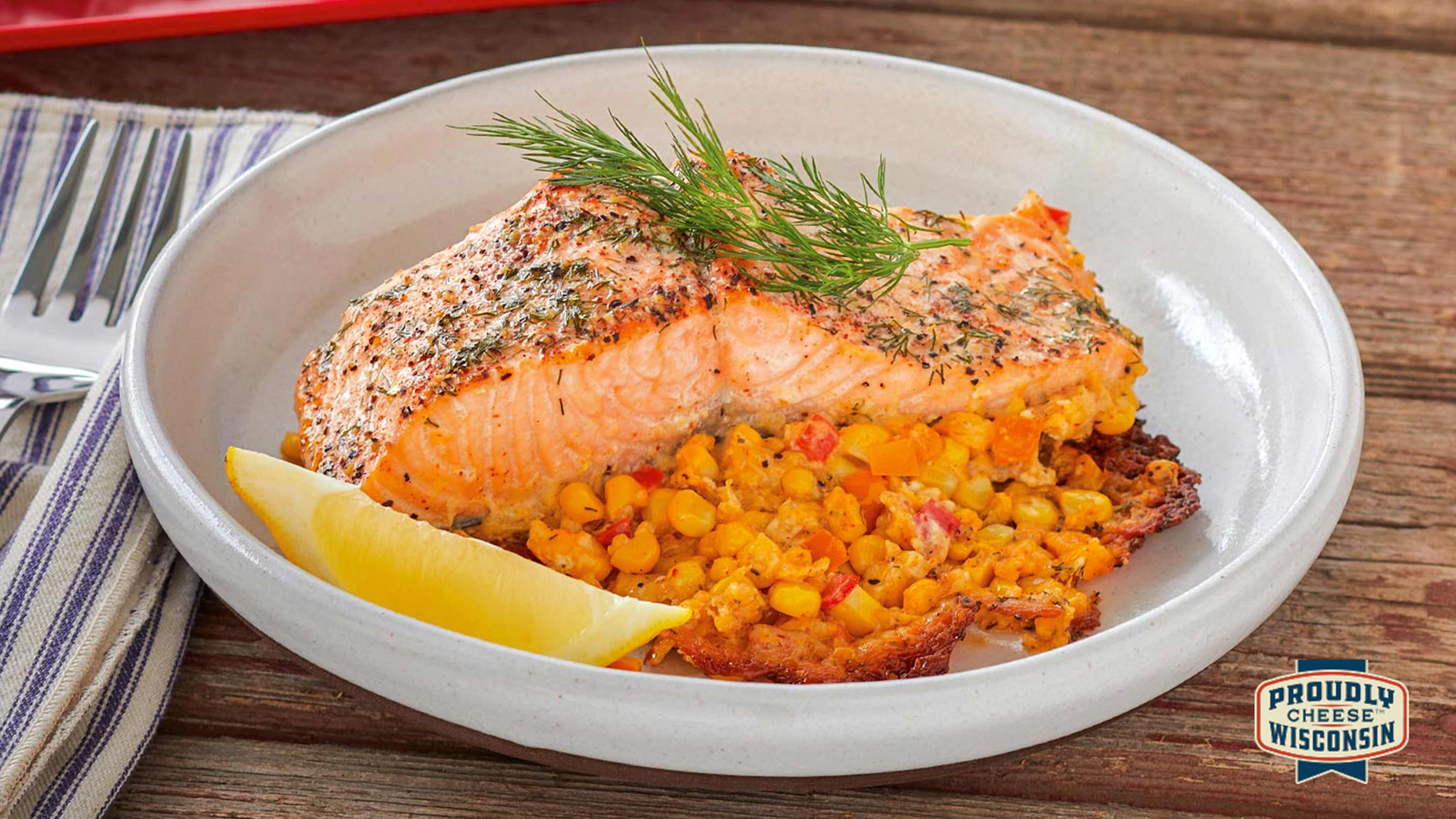 Image for Recipe Cheesy Sweet Corn and Salmon Packets