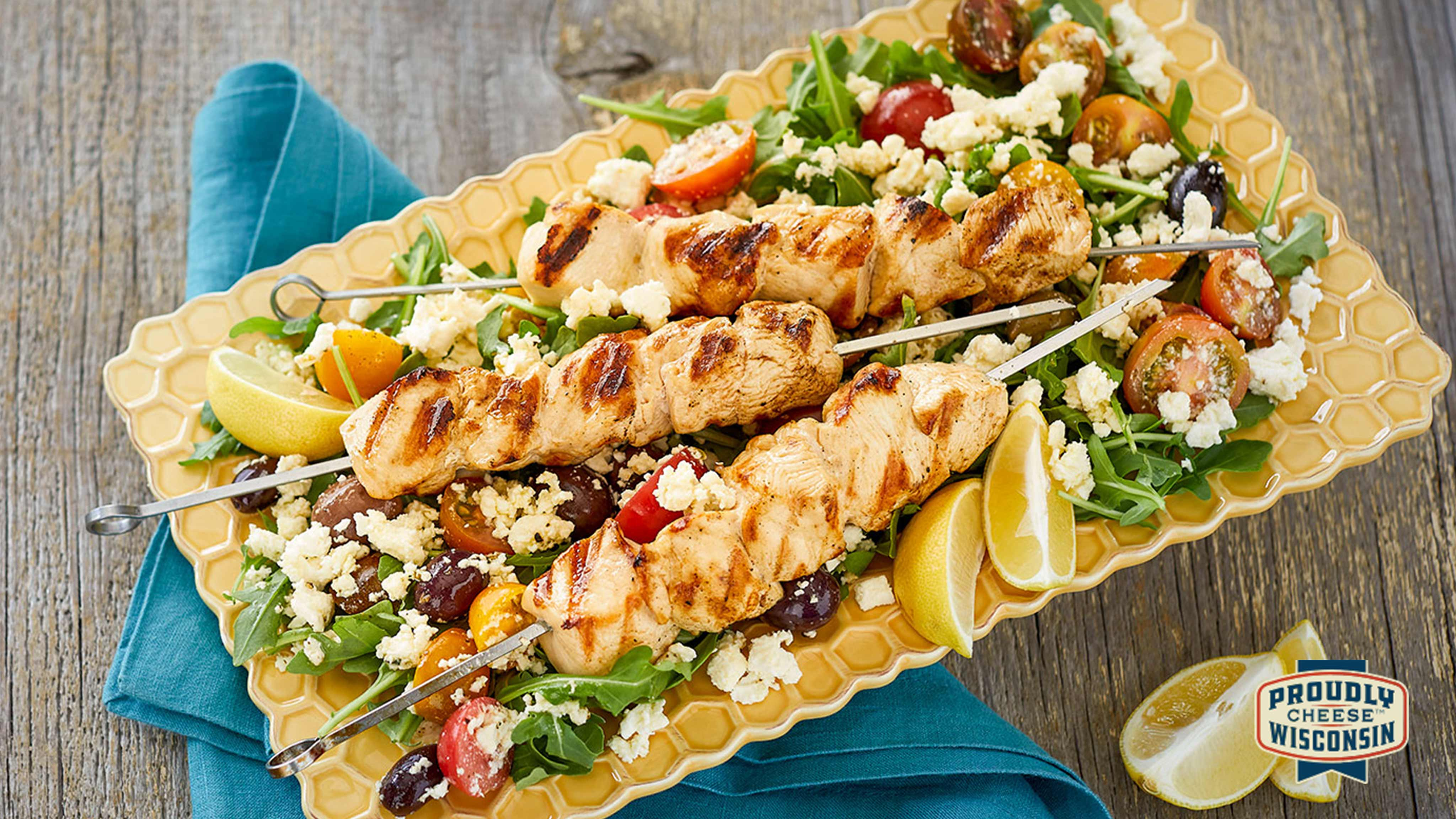 Image for Recipe Feta-Brined Grilled Chicken Kabobs