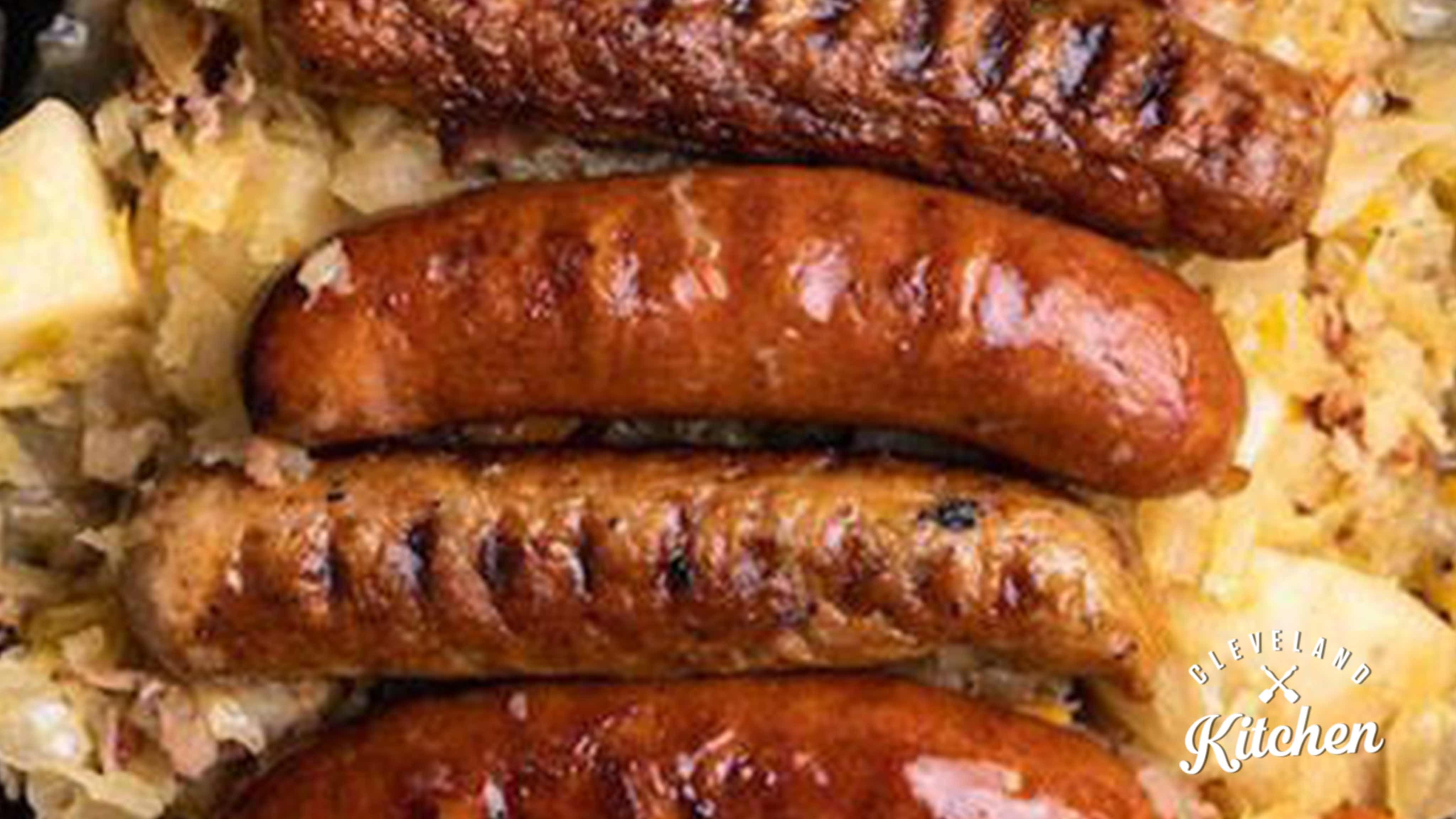Image for Recipe Beer-Braised Sausages and Sauerkraut