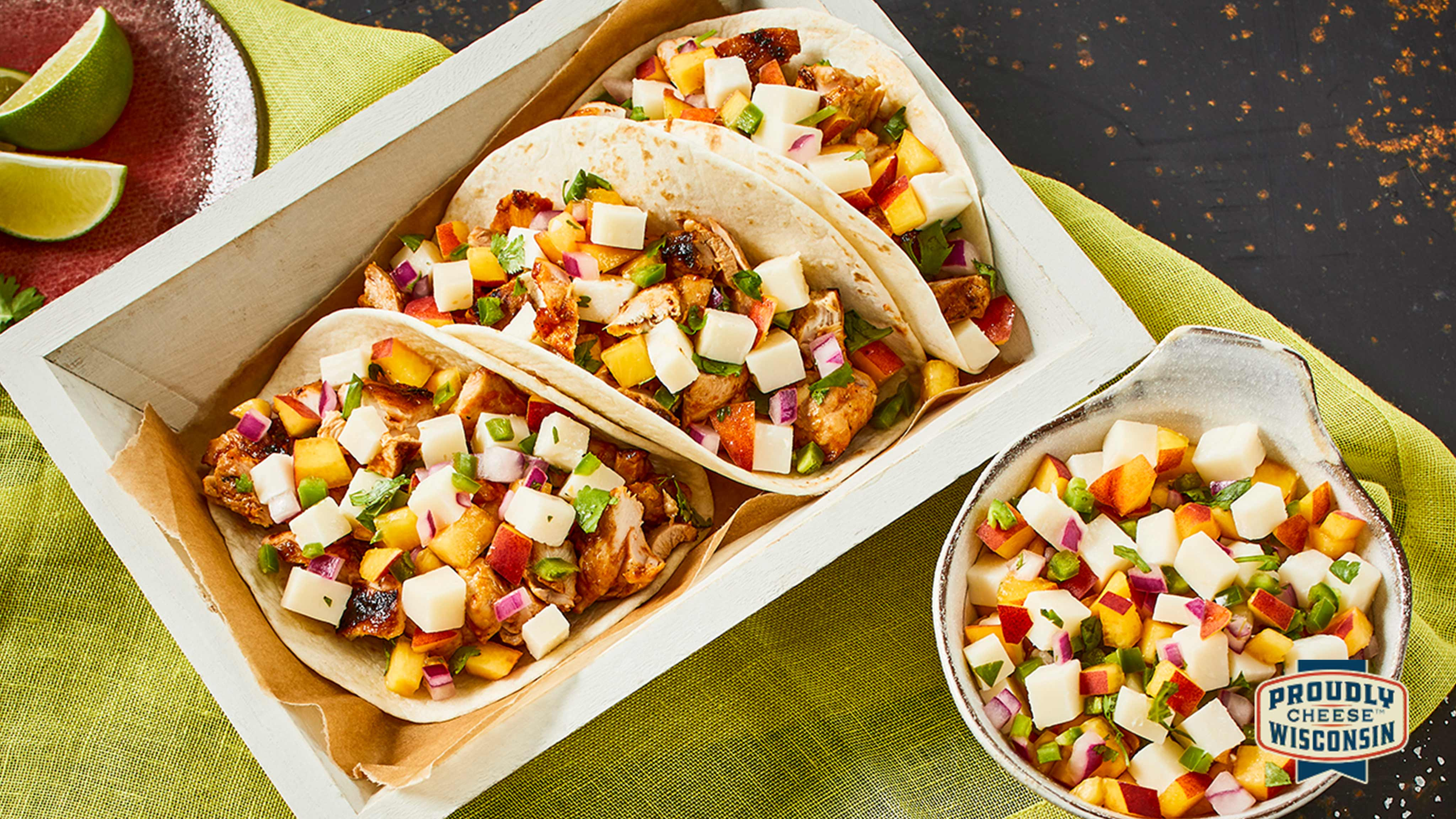 Image for Recipe Barbecue Chicken Tacos with Peach Gouda Salsa