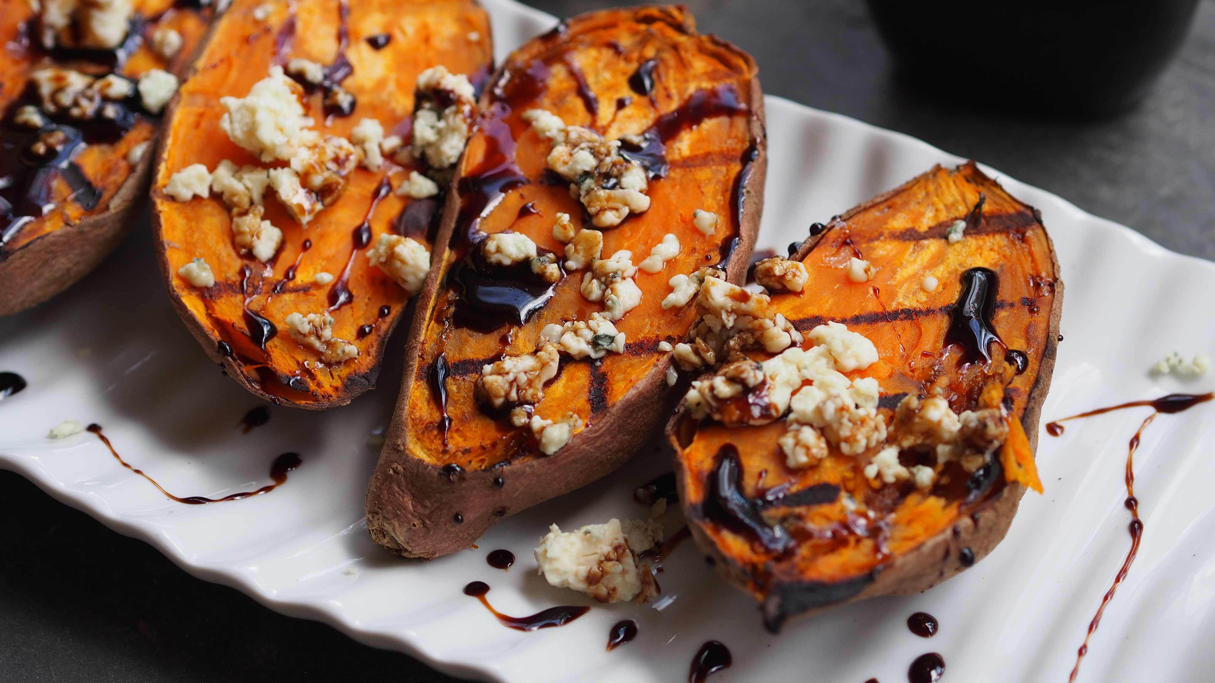 Image for Recipe Black and Blue Grilled Sweet Potatoes