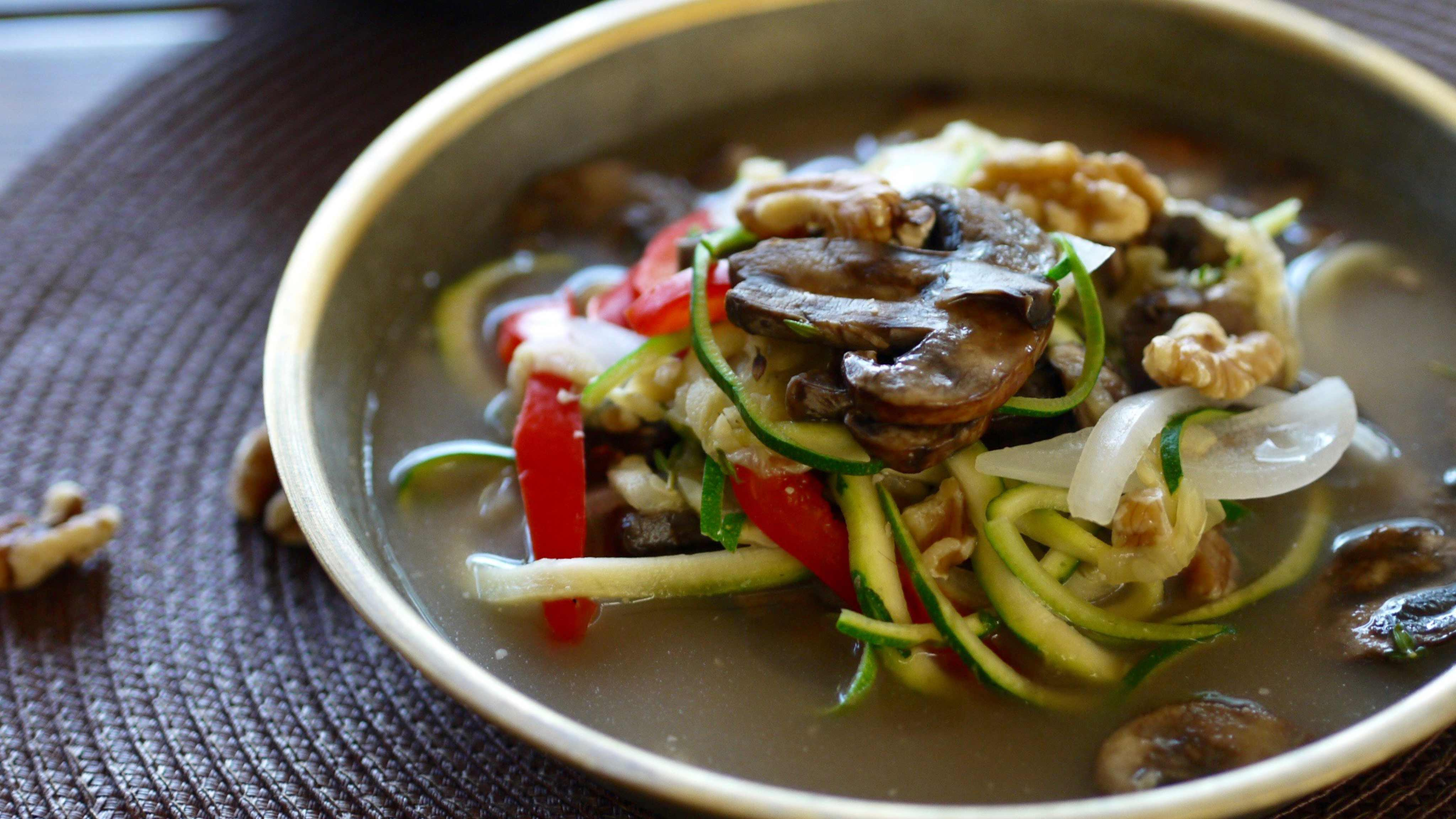 Image for Recipe Ginger-Miso Mushroom Zoodle Soup