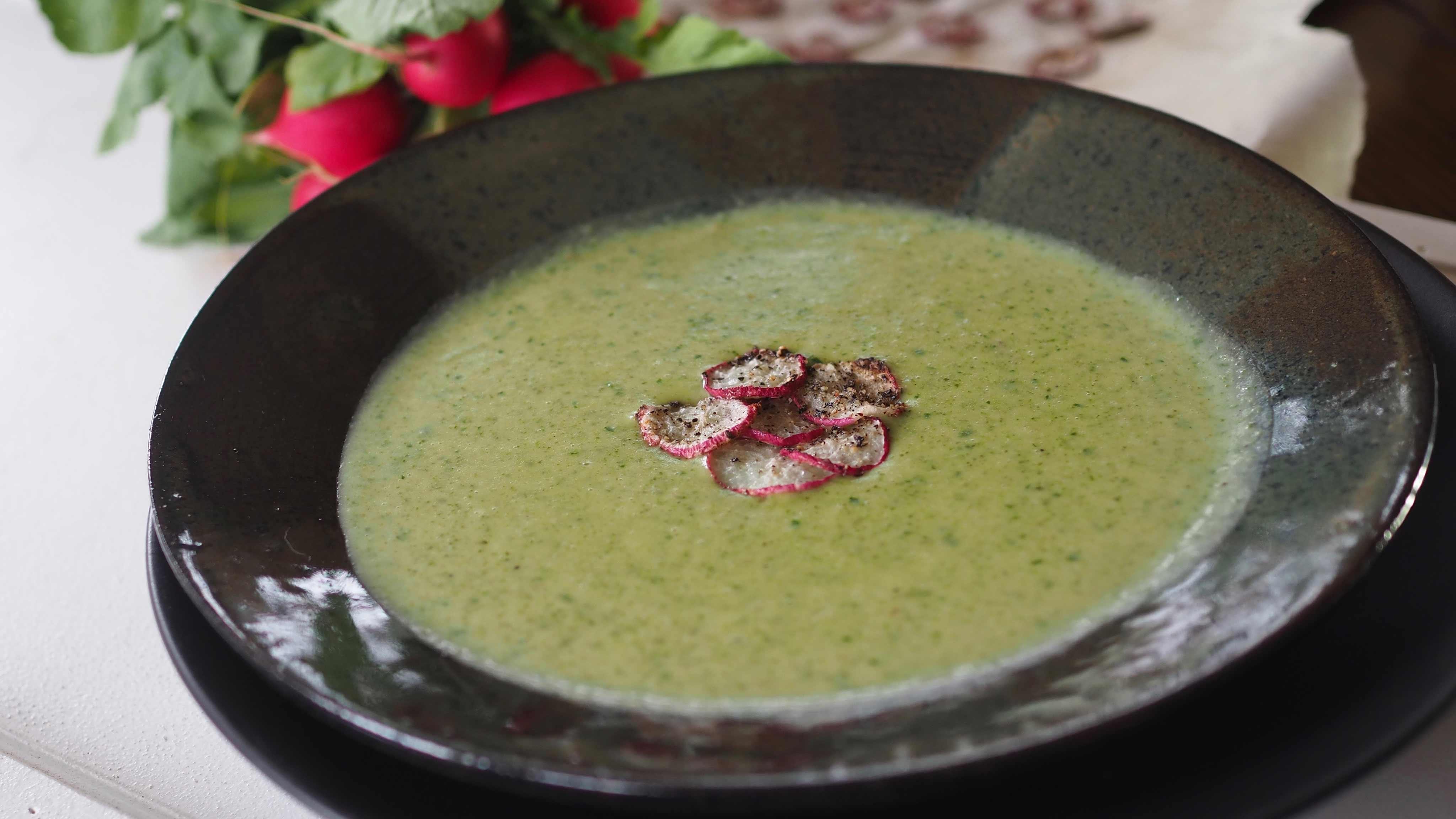 Image for Recipe Coconut Ginger Radish Greens Soup with Radish Chips