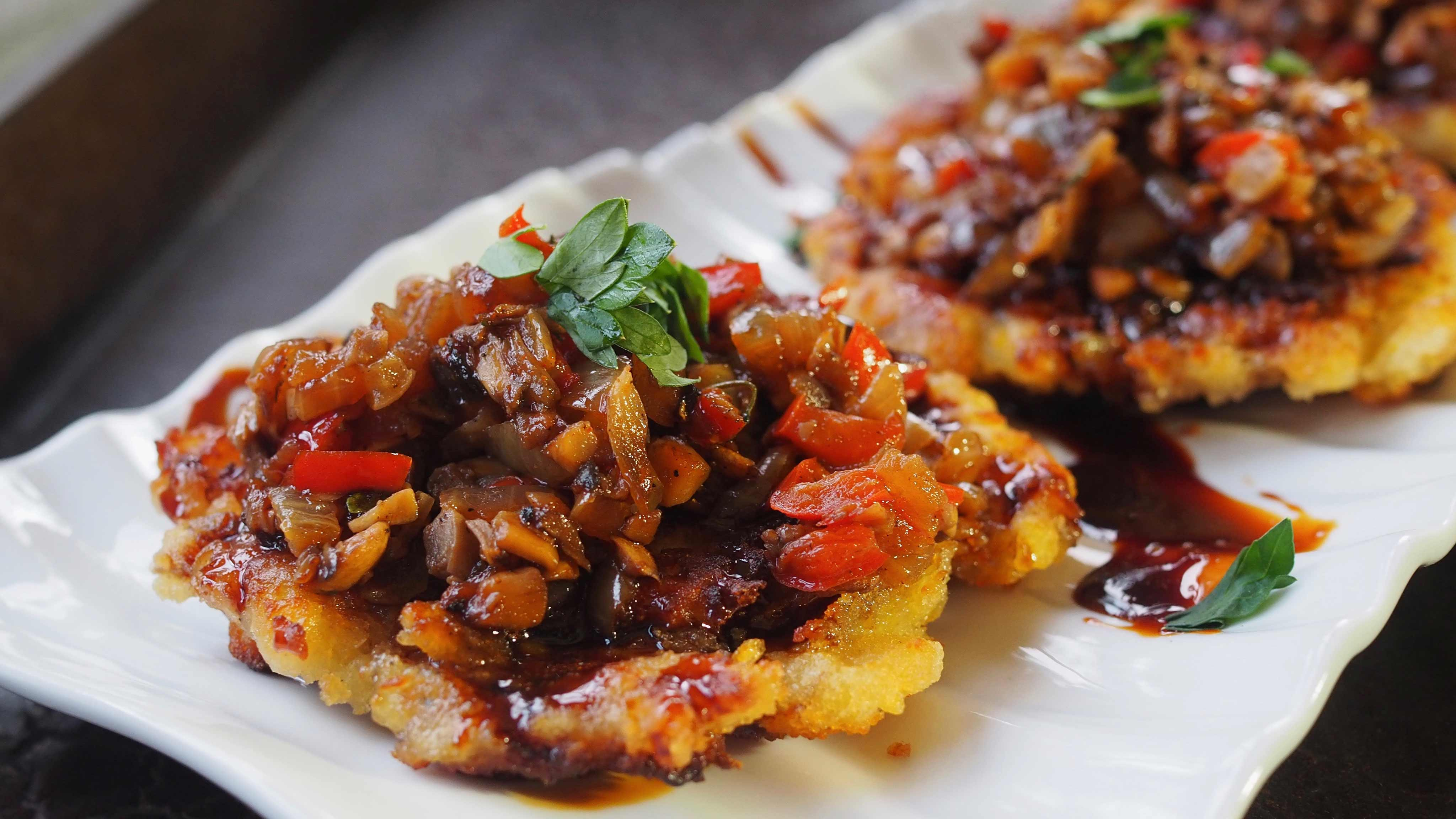 Image for Recipe Mushroom Ratatouille on Potato Pancake with Soy Sauce Reduction